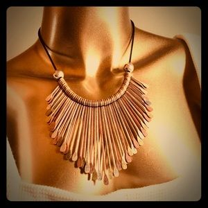 Jewelry - African Tribal Metal Paddle Statement Necklace
